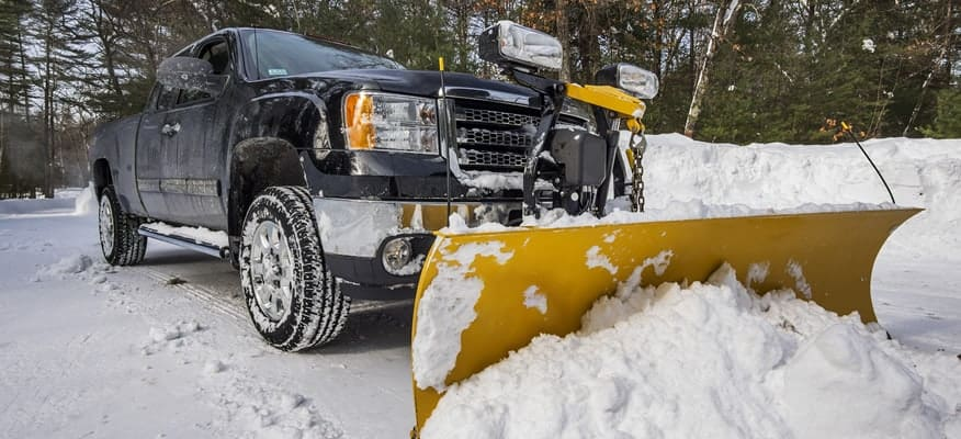 Black Snow Plow with Yellow Plow