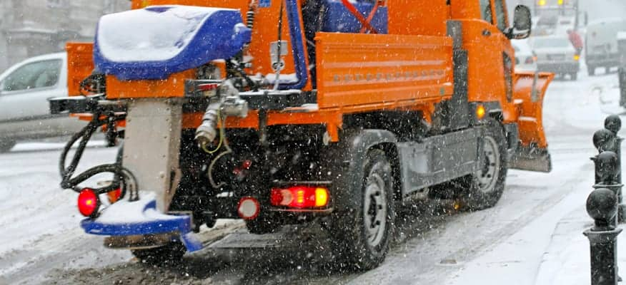Salt Truck Spreading Ice Melt