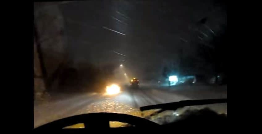 car fire extinguished by snow plow